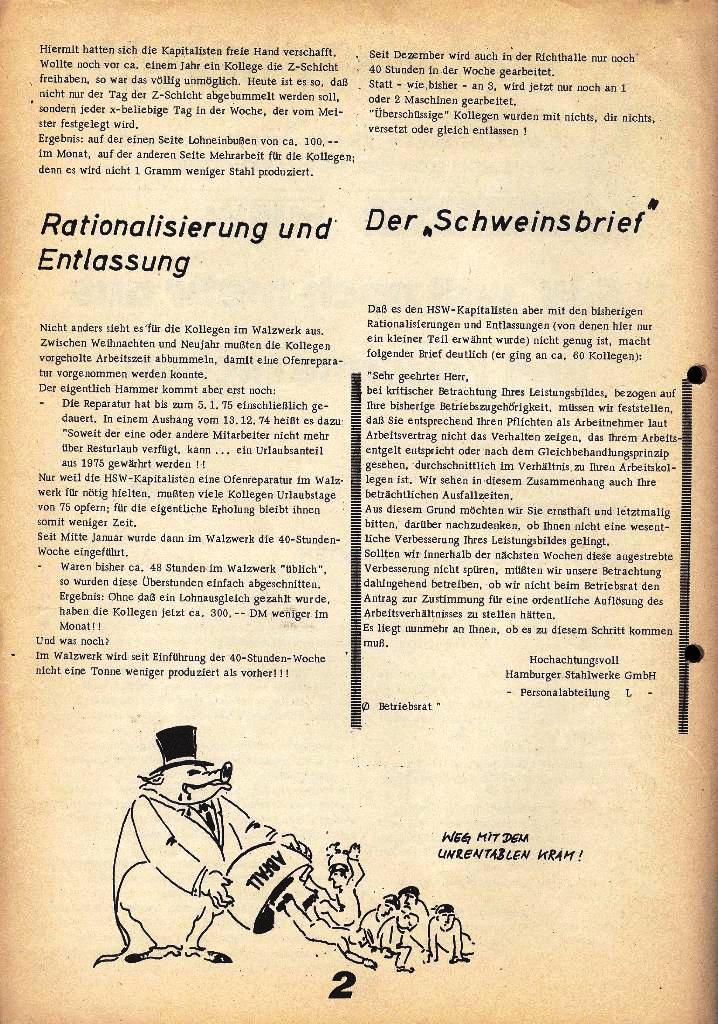 Der Metallarbeiter _ Zeitung des Kommunistischen Bundes/Gruppe Hamburg für die Kollegen der Metallindustrie _ Betriebsausgabe HSW, 27.2.1975, Seite 2