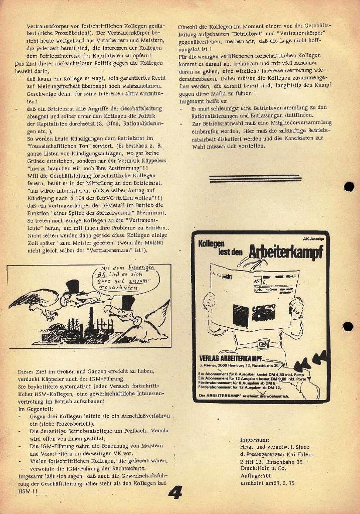 Der Metallarbeiter _ Zeitung des Kommunistischen Bundes/Gruppe Hamburg für die Kollegen der Metallindustrie _ Betriebsausgabe HSW, 27.2.1975, Seite 4