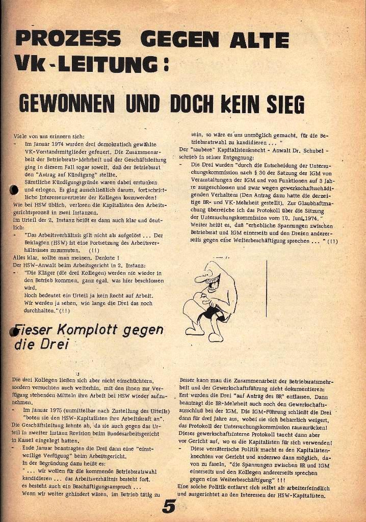 Der Metallarbeiter _ Zeitung des Kommunistischen Bundes/Gruppe Hamburg für die Kollegen der Metallindustrie _ Betriebsausgabe HSW, 27.2.1975, Seite 5