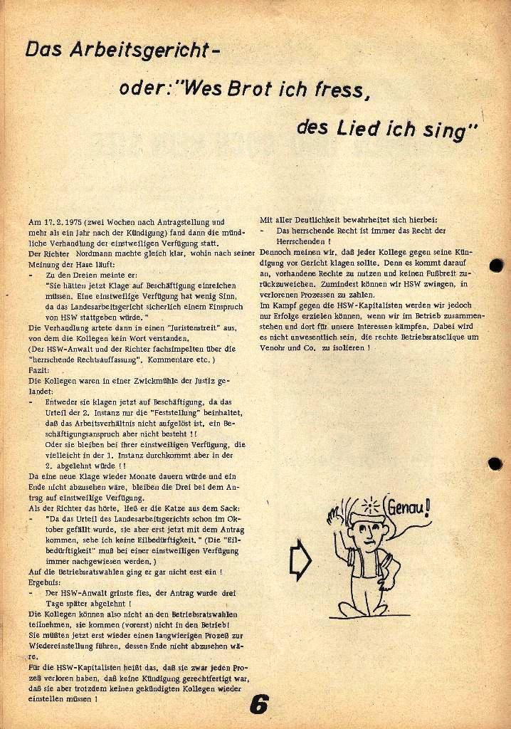 Der Metallarbeiter _ Zeitung des Kommunistischen Bundes/Gruppe Hamburg für die Kollegen der Metallindustrie _ Betriebsausgabe HSW, 27.2.1975, Seite 6