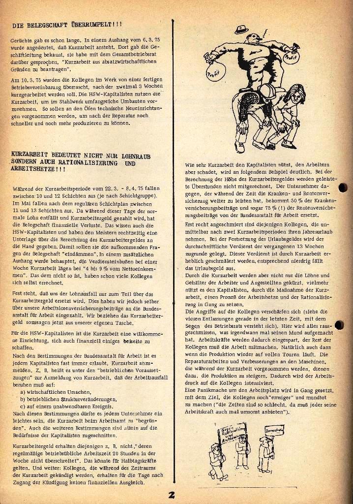 Der Metallarbeiter _ Zeitung des Kommunistischen Bundes/Gruppe Hamburg für die Kollegen der Metallindustrie _ Betriebsausgabe HSW, März 1975, Seite 2