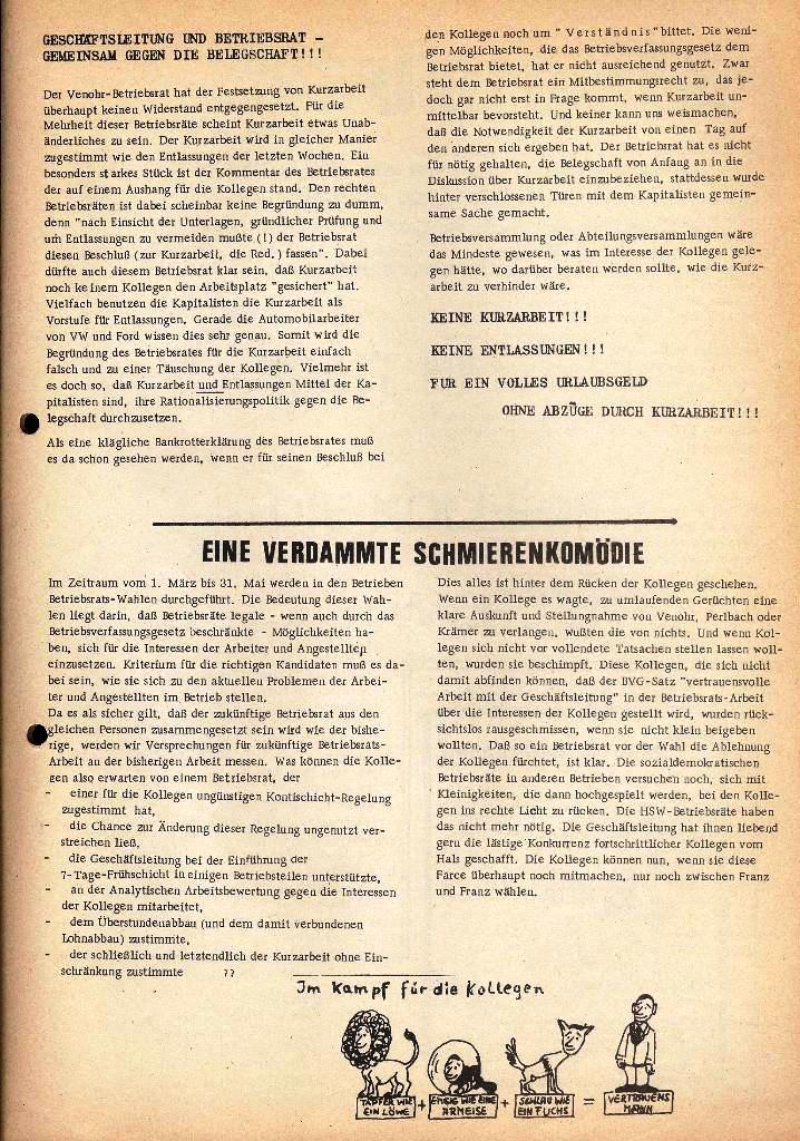 Der Metallarbeiter _ Zeitung des Kommunistischen Bundes/Gruppe Hamburg für die Kollegen der Metallindustrie _ Betriebsausgabe HSW, März 1975, Seite 3