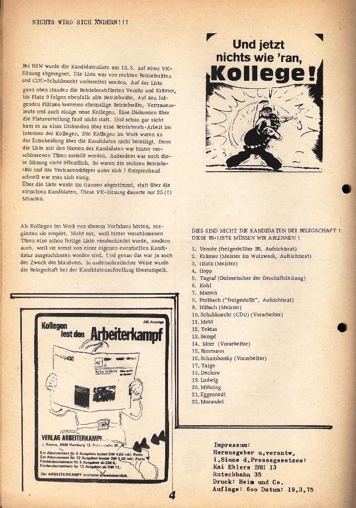 Der Metallarbeiter _ Zeitung des Kommunistischen Bundes/Gruppe Hamburg für die Kollegen der Metallindustrie _ Betriebsausgabe HSW, März 1975, Seite 4