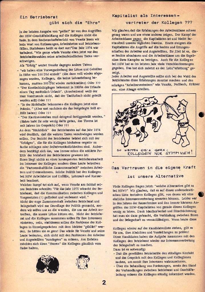 Der Metallarbeiter _ Zeitung des Kommunistischen Bundes/Gruppe Hamburg für die Kollegen der Metallindustrie _ Betriebsausgabe HSW, April 1975, Seite 2