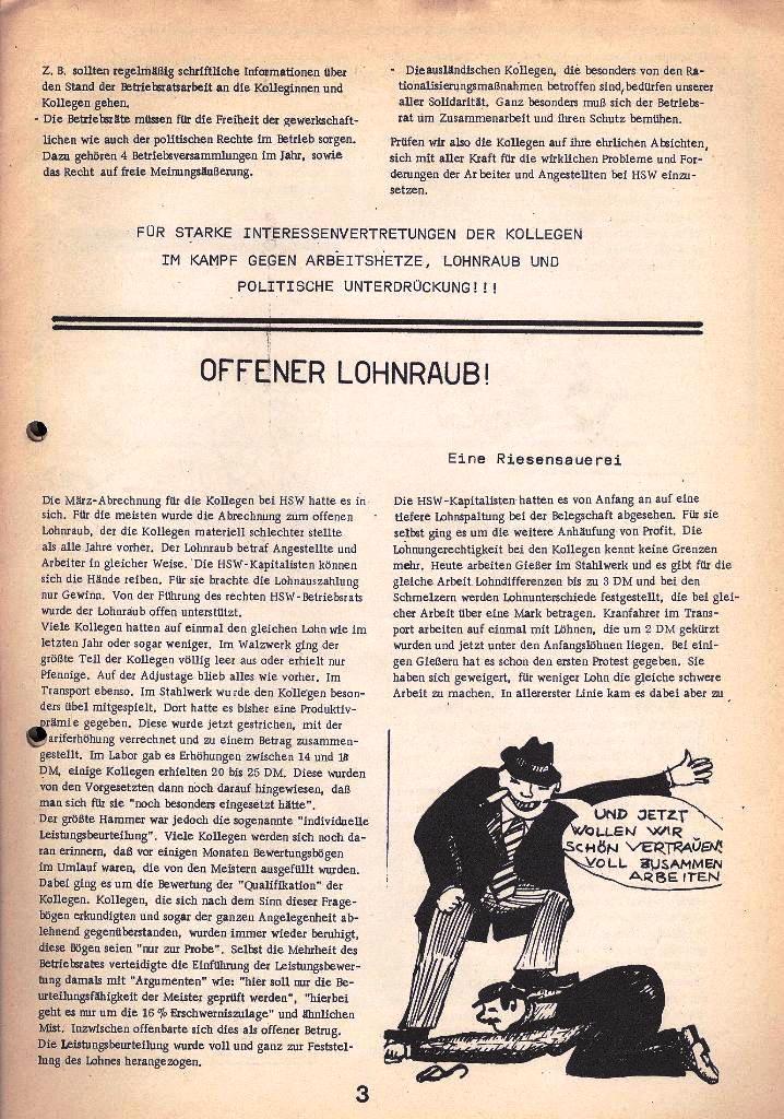 Der Metallarbeiter _ Zeitung des Kommunistischen Bundes/Gruppe Hamburg für die Kollegen der Metallindustrie _ Betriebsausgabe HSW, April 1975, Seite 3