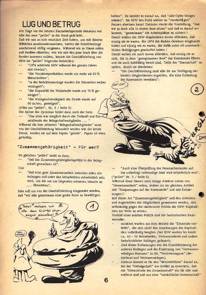 Der Metallarbeiter _ Zeitung des Kommunistischen Bundes/Gruppe Hamburg für die Kollegen der Metallindustrie _ Betriebsausgabe HSW, April 1975, Seite 6