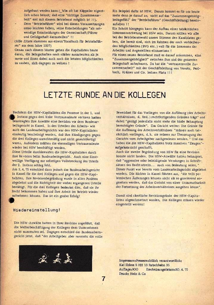 Der Metallarbeiter _ Zeitung des Kommunistischen Bundes/Gruppe Hamburg für die Kollegen der Metallindustrie _ Betriebsausgabe HSW, April 1975, Seite 7
