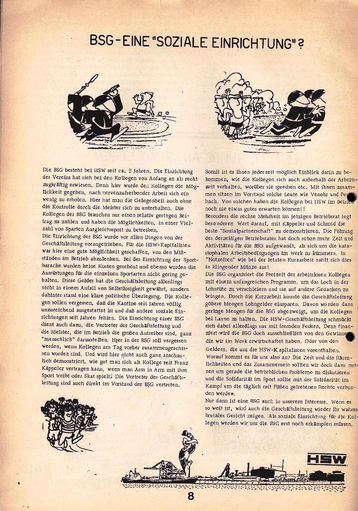 Der Metallarbeiter _ Zeitung des Kommunistischen Bundes/Gruppe Hamburg für die Kollegen der Metallindustrie _ Betriebsausgabe HSW, April 1975, Seite 8