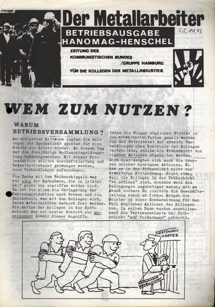 Der Metallarbeiter _ Zeitung des Kommunistischen Bundes/Gruppe Hamburg für die Kollegen der Metallindustrie _ Betriebsausgabe Hanomag_Henschel, 25.10.1973, Seite 1