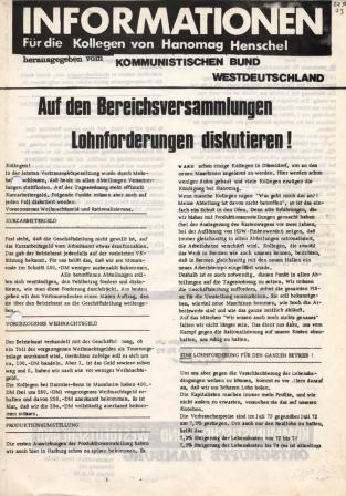 Informationen. Für die Kollegen von Hannomag_Henschel. Herausgegeben von der Kommunistischen Bund Westdeutschland [1973]