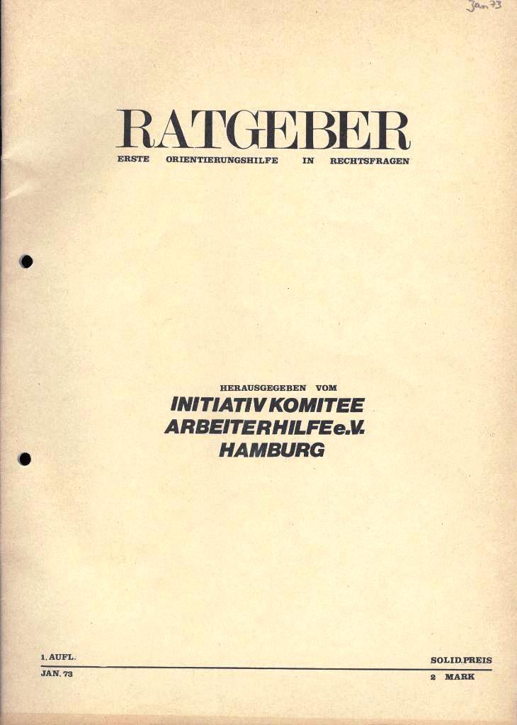IKAH_Ratgeber, 1973, Titelseite
