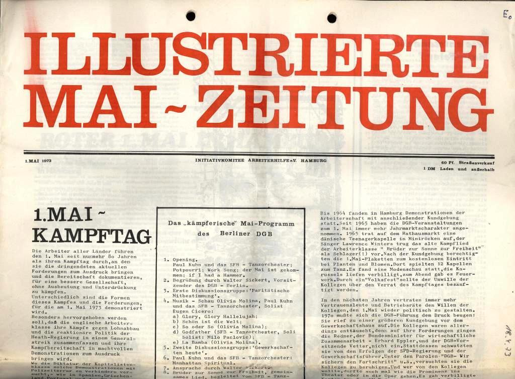 IKAH: Illustrierte Mai_Zeitung, 1. Mai 1973, Titelseite