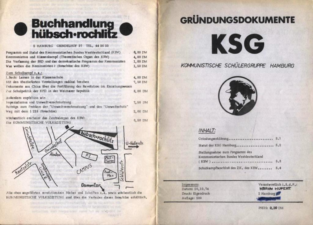 KSG, Gründungsdokumente, Hamburg, 20.10.1974, Vorder_ undRückseite