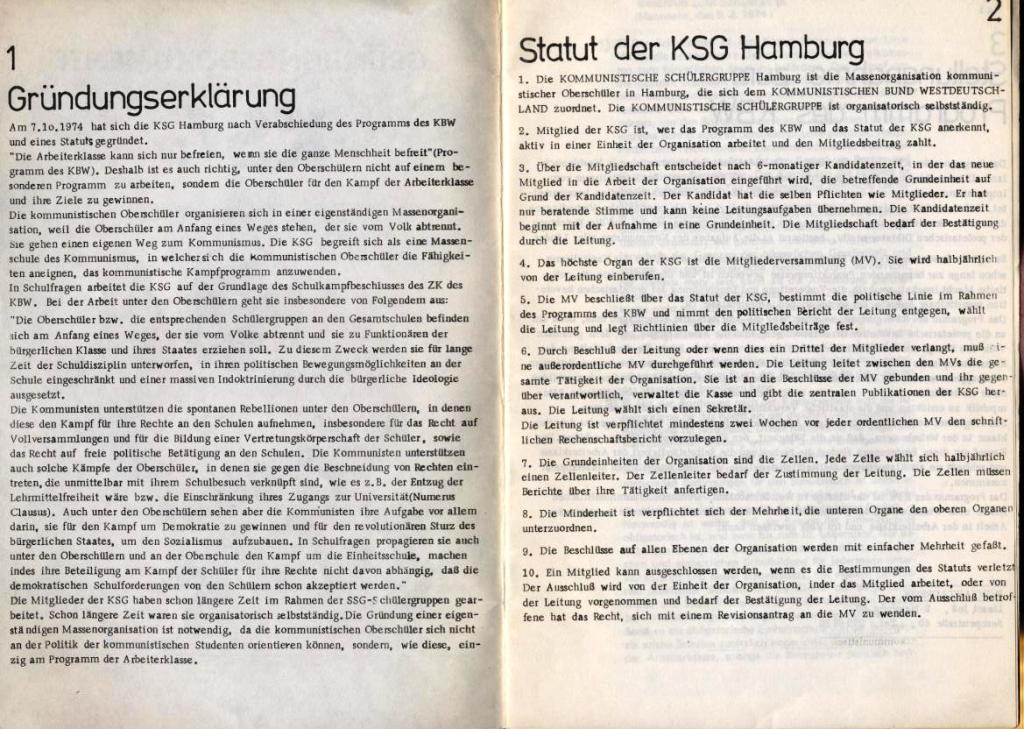 KSG, Gründungsdokumente, Hamburg, 20.10.1974, Seite 1 und 2