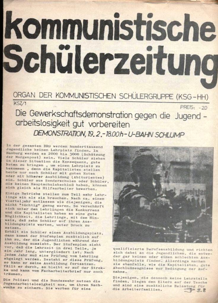 Kommunistische Schülerzeitung, Nr. 1, Hamburg, 10.2.1975, Seite 1