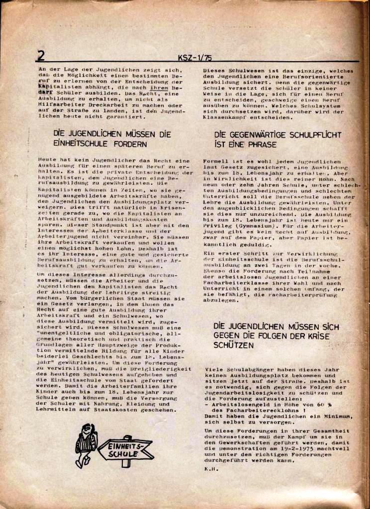 Kommunistische Schülerzeitung, Nr. 1, Hamburg, 10.2.1975, Seite 2