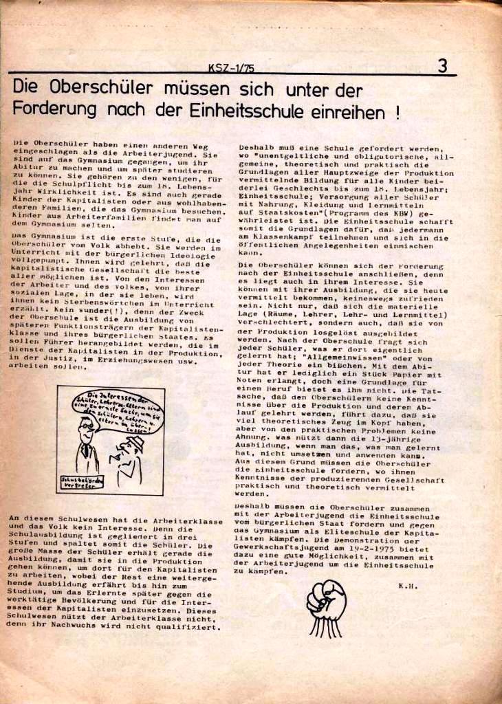 Kommunistische Schülerzeitung, Nr. 1, Hamburg, 10.2.1975, Seite 3