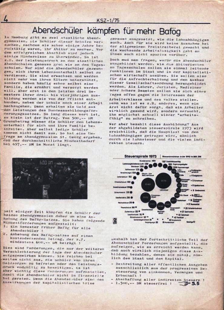 Kommunistische Schülerzeitung, Nr. 1, Hamburg, 10.2.1975, Seite 4