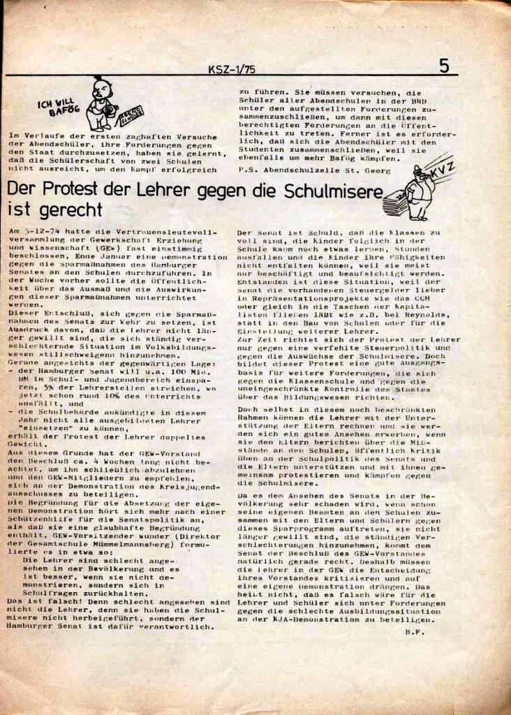 Kommunistische Schülerzeitung, Nr. 1, Hamburg, 10.2.1975, Seite 5