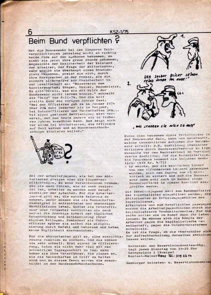 Kommunistische Schülerzeitung, Nr. 1, Hamburg, 10.2.1975, Seite 6