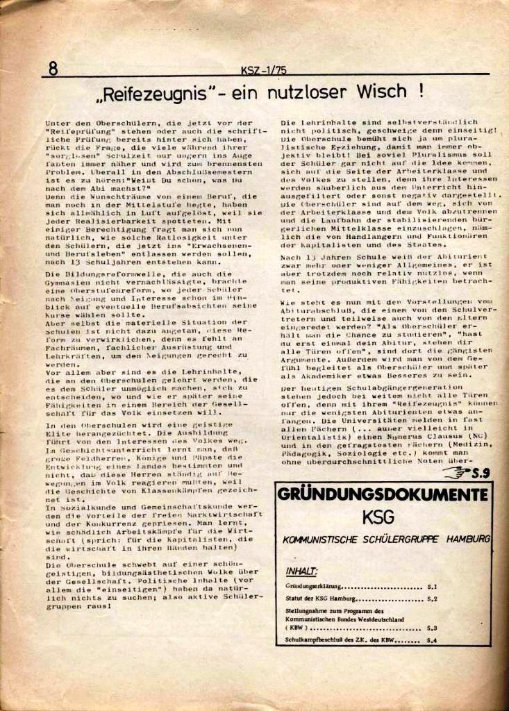 Kommunistische Schülerzeitung, Nr. 1, Hamburg, 10.2.1975, Seite 8