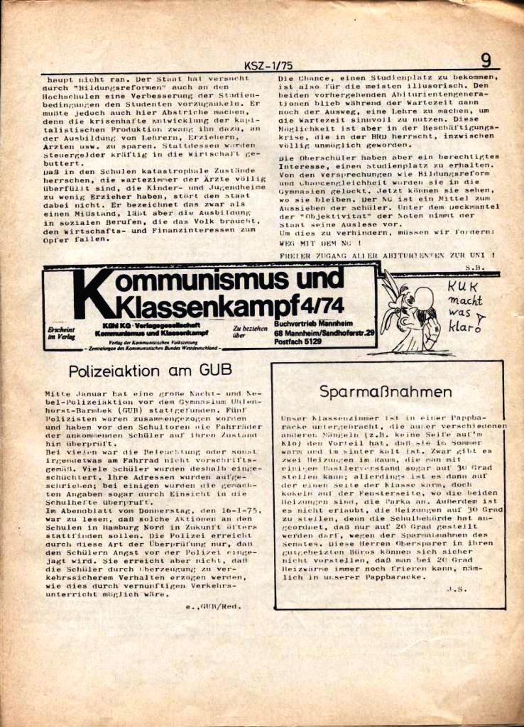 Kommunistische Schülerzeitung, Nr. 1, Hamburg, 10.2.1975, Seite 9