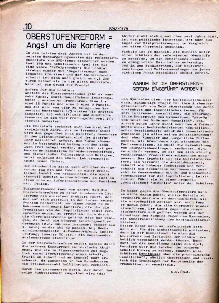 Kommunistische Schülerzeitung, Nr. 1, Hamburg, 10.2.1975, Seite 10