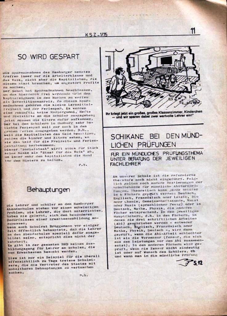 Kommunistische Schülerzeitung, Nr. 1, Hamburg, 10.2.1975, Seite 11