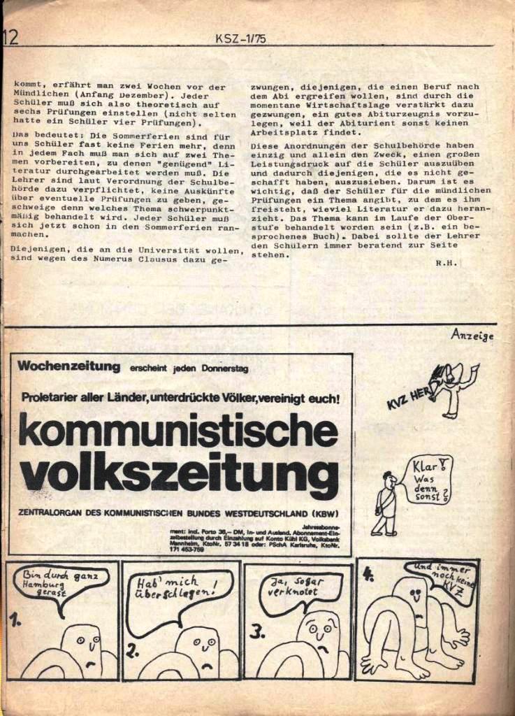Kommunistische Schülerzeitung, Nr. 1, Hamburg, 10.2.1975, Seite 12