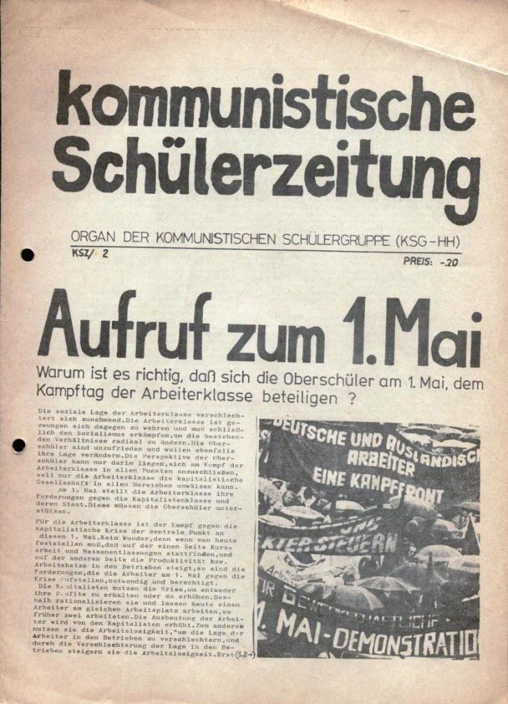 Kommunistische Schülerzeitung, Nr. 2, Hamburg, 15.4.1975, Seite 1
