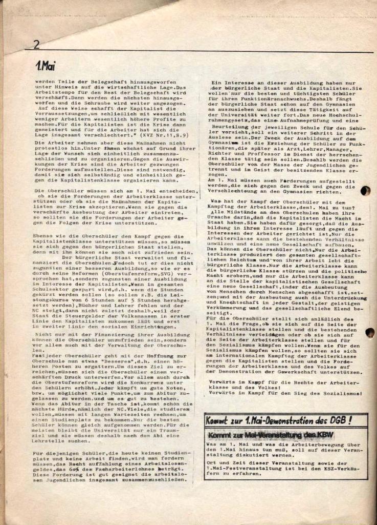 Kommunistische Schülerzeitung, Nr. 2, Hamburg, 15.4.1975, Seite 2