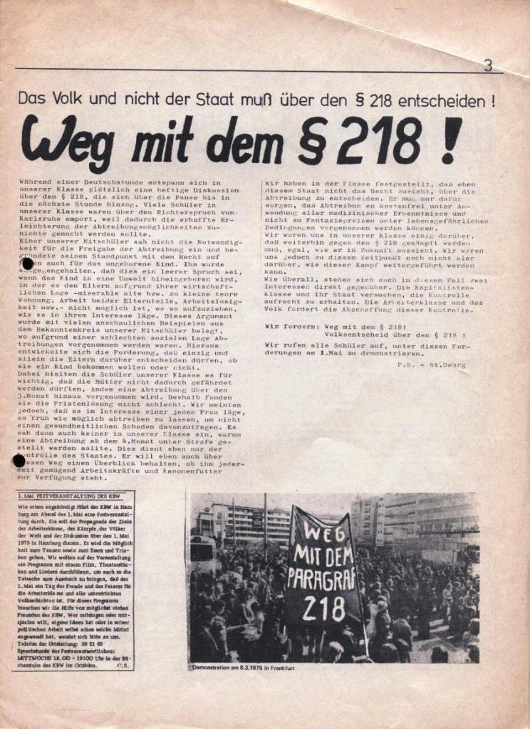 Kommunistische Schülerzeitung, Nr. 2, Hamburg, 15.4.1975, Seite 3