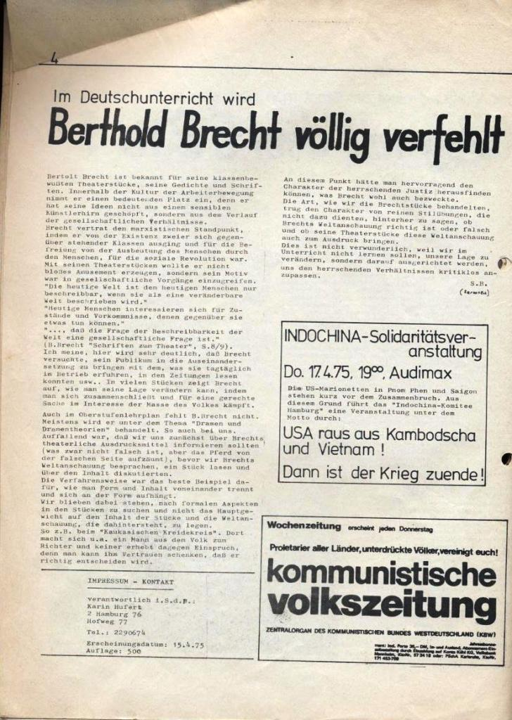 Kommunistische Schülerzeitung, Nr. 2, Hamburg, 15.4.1975, Seite 4