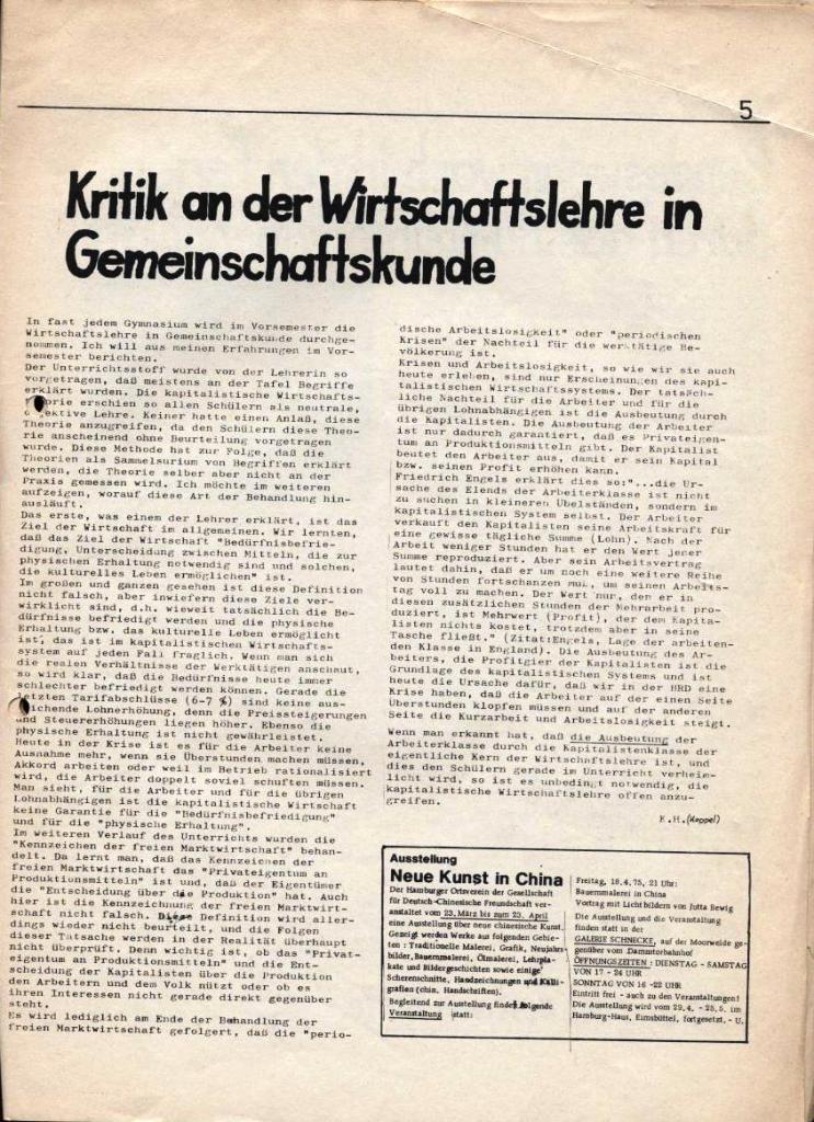 Kommunistische Schülerzeitung, Nr. 2, Hamburg, 15.4.1975, Seite 5