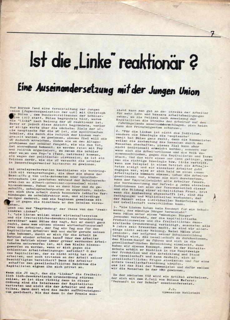 Kommunistische Schülerzeitung, Nr. 2, Hamburg, 15.4.1975, Seite 7