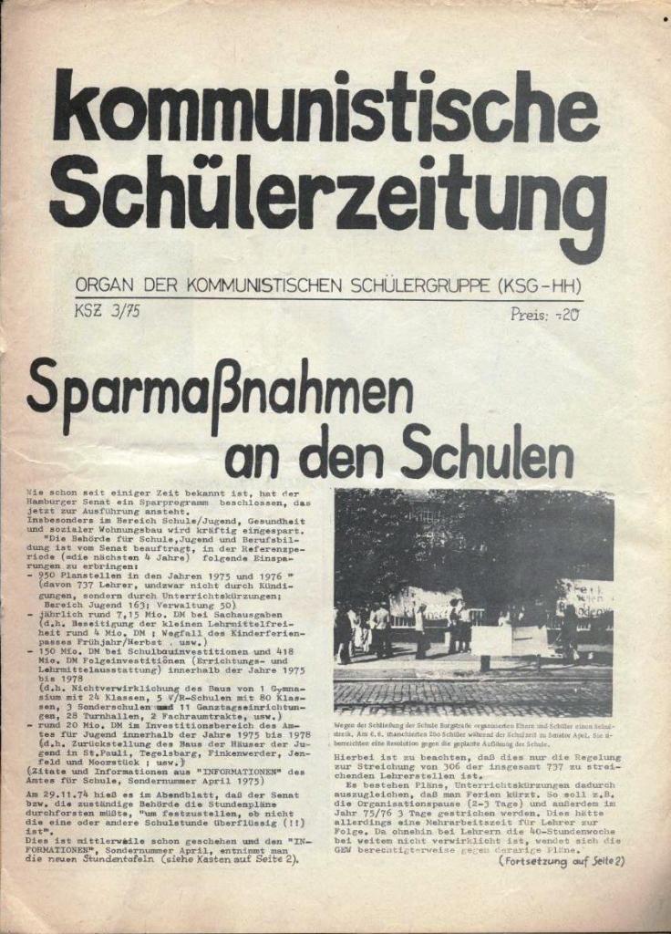Kommunistische Schülerzeitung, Nr. 3, Hamburg, 16.6.1975, Seite 1