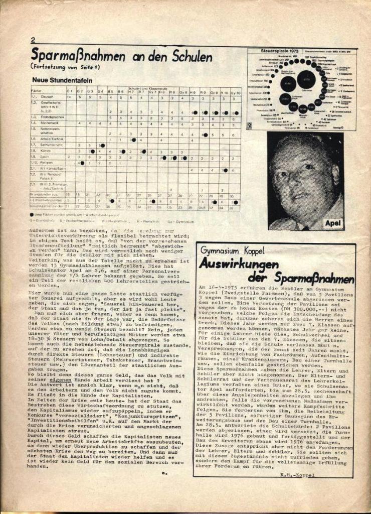 Kommunistische Schülerzeitung, Nr. 3, Hamburg, 16.6.1975, Seite 2