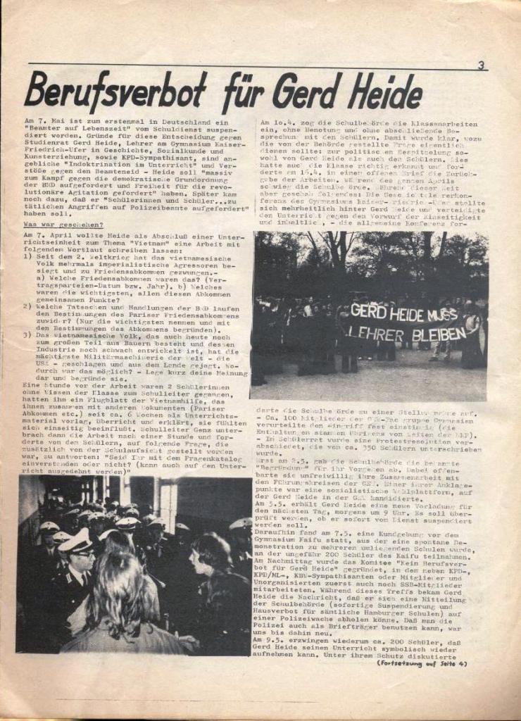 Kommunistische Schülerzeitung, Nr. 3, Hamburg, 16.6.1975, Seite 3