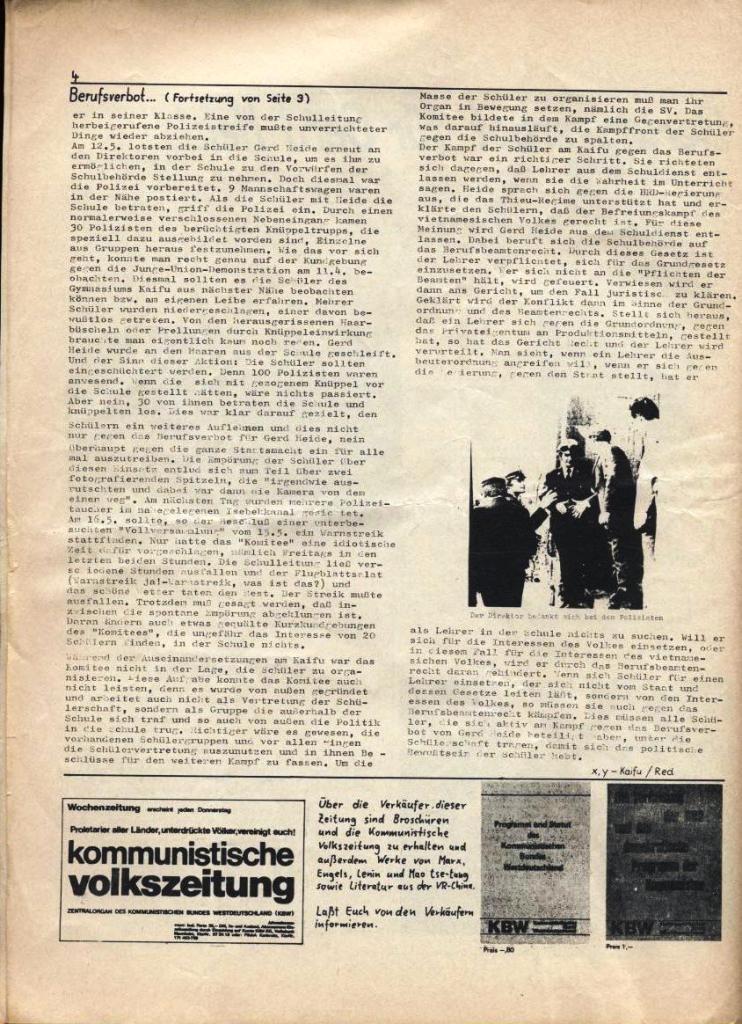 Kommunistische Schülerzeitung, Nr. 3, Hamburg, 16.6.1975, Seite 4