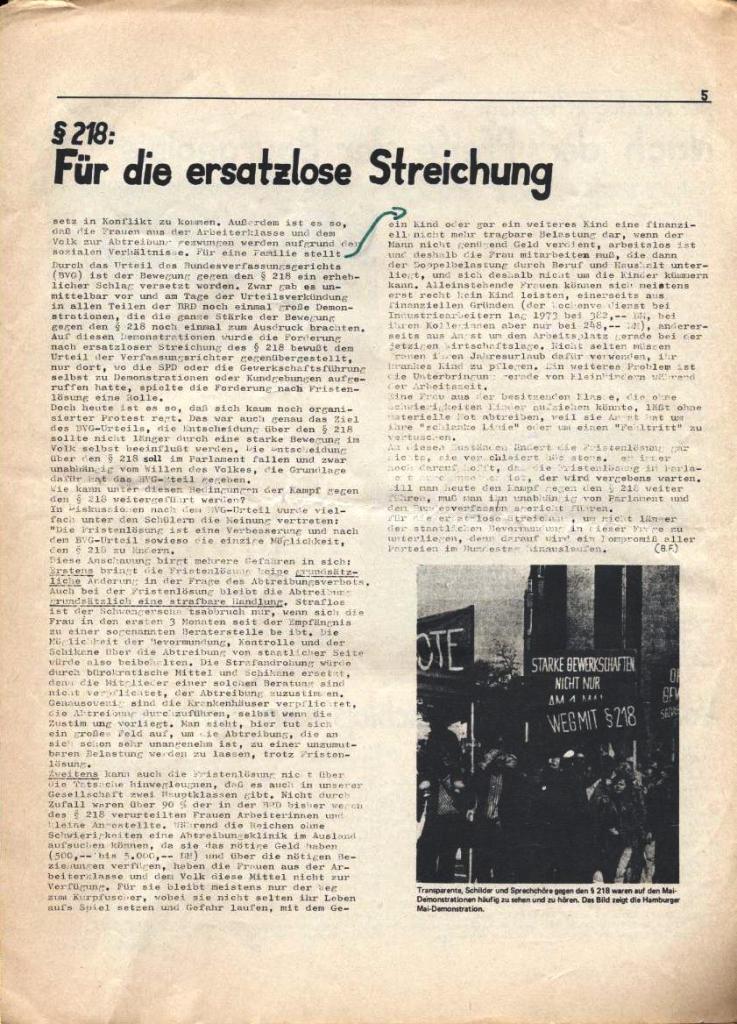 Kommunistische Schülerzeitung, Nr. 3, Hamburg, 16.6.1975, Seite 5