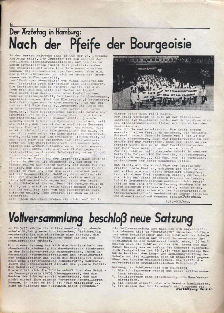 Kommunistische Schülerzeitung, Nr. 3, Hamburg, 16.6.1975, Seite 6