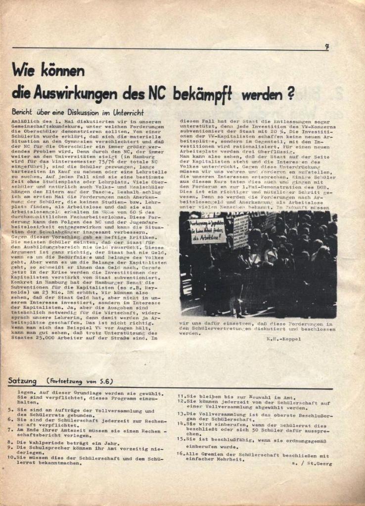 Kommunistische Schülerzeitung, Nr. 3, Hamburg, 16.6.1975, Seite 7