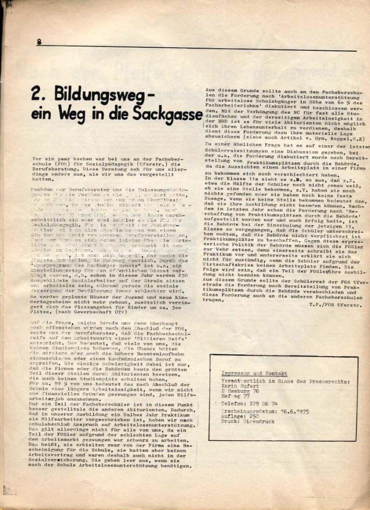 Kommunistische Schülerzeitung, Nr. 3, Hamburg, 16.6.1975, Seite 8