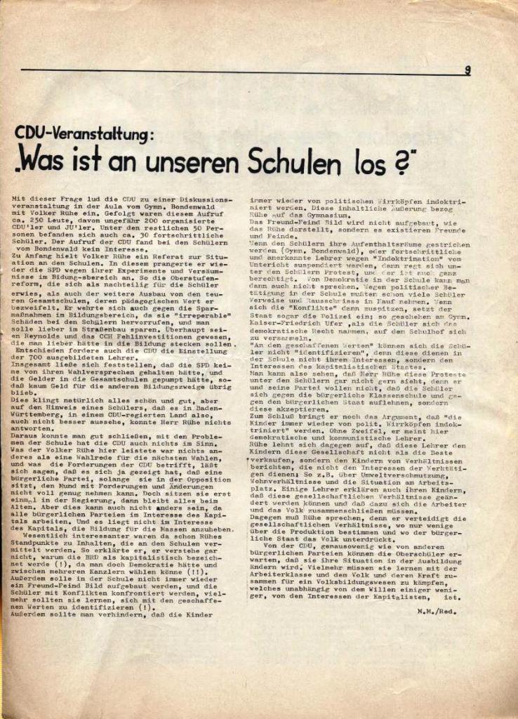 Kommunistische Schülerzeitung, Nr. 3, Hamburg, 16.6.1975, Seite 9