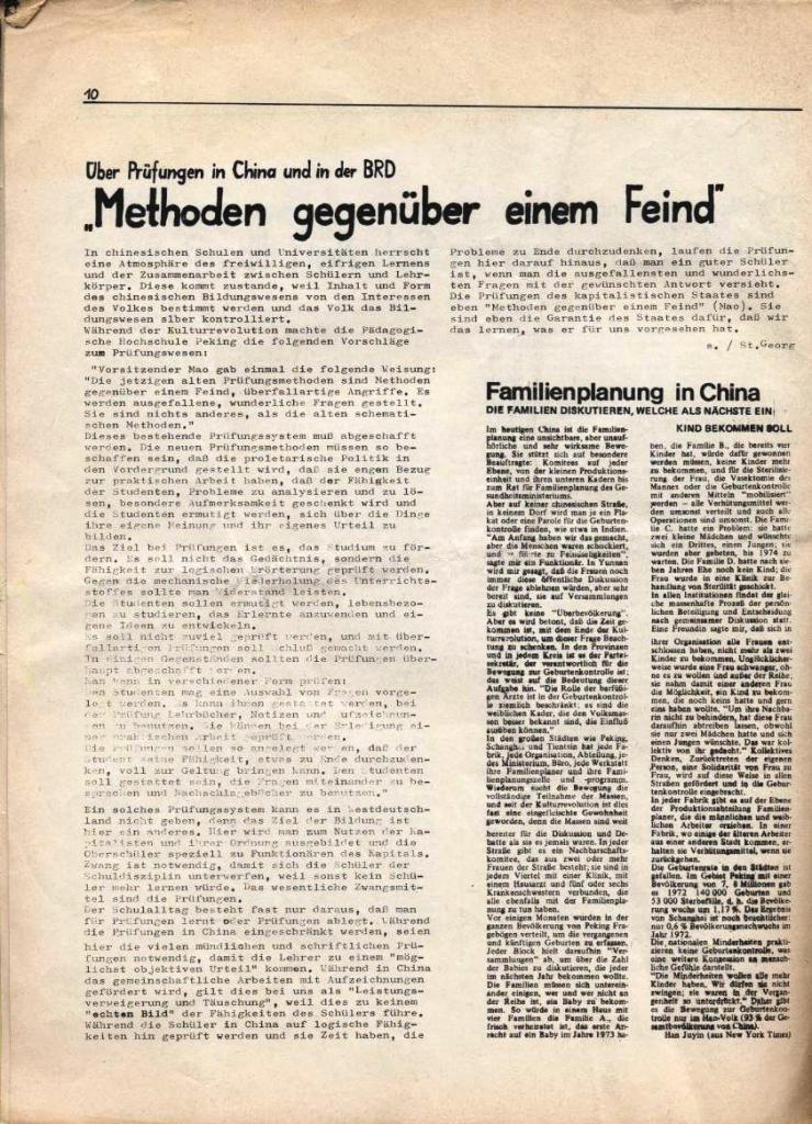 Kommunistische Schülerzeitung, Nr. 3, Hamburg, 16.6.1975, Seite 10