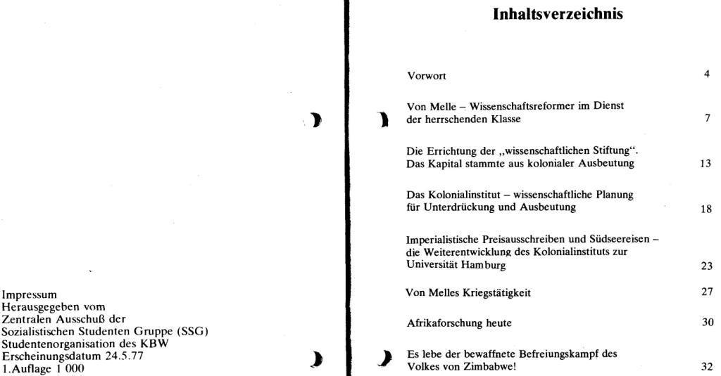 Broschüre der SSG Hamburg: Von Melle – Imperialistenidol in Sachen Kolonialpolitik und Unterdrückung, Seite 2f.