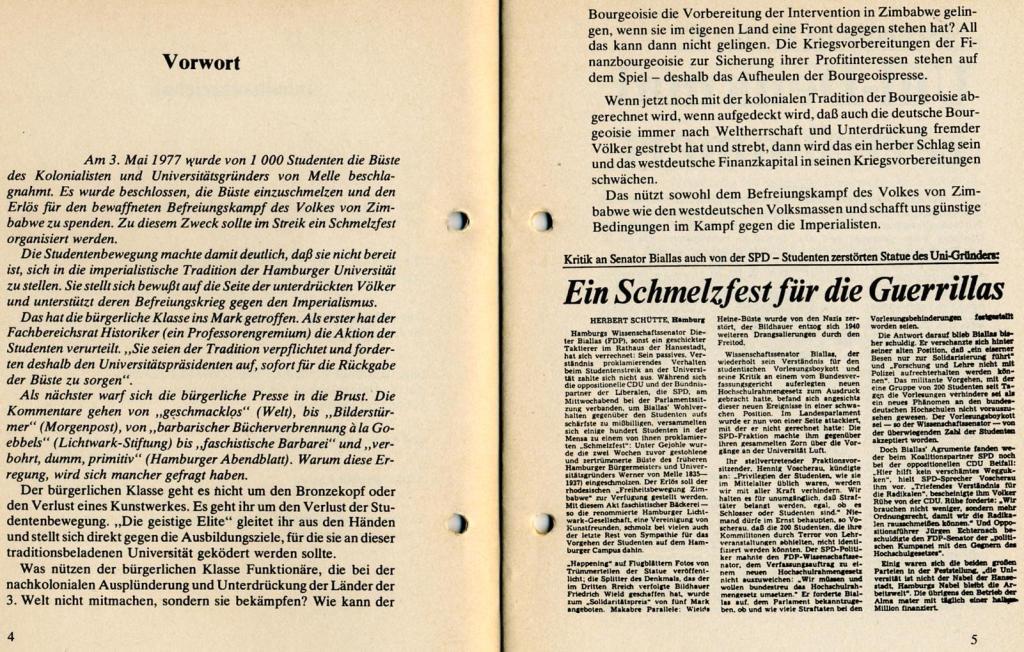 Broschüre der SSG Hamburg: Von Melle – Imperialistenidol in Sachen Kolonialpolitik und Unterdrückung, Seite 4f.