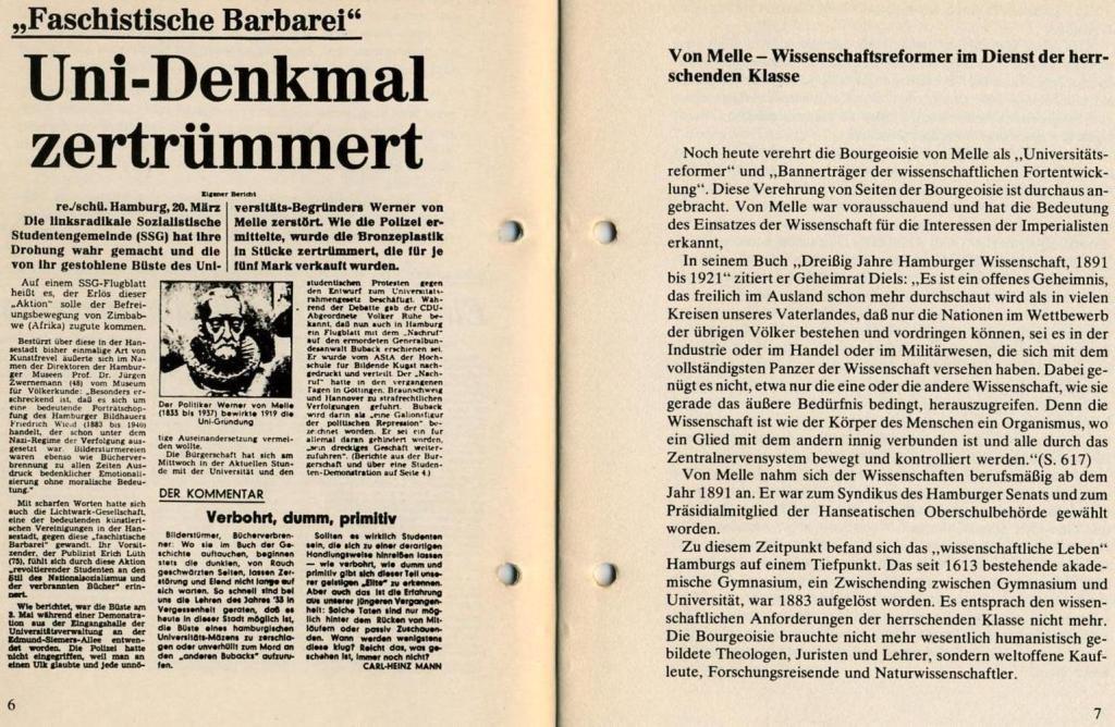 Broschüre der SSG Hamburg: Von Melle – Imperialistenidol in Sachen Kolonialpolitik und Unterdrückung, Seite 6f.