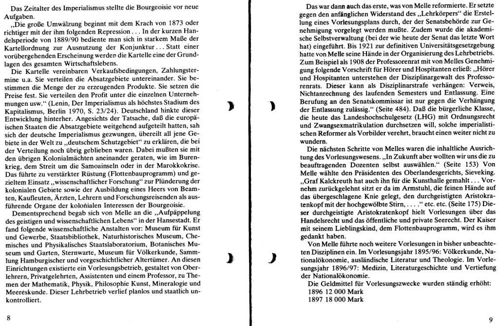 Broschüre der SSG Hamburg: Von Melle – Imperialistenidol in Sachen Kolonialpolitik und Unterdrückung, Seite 8f.
