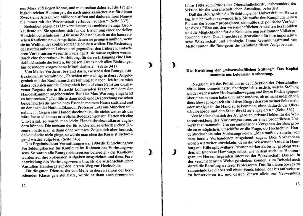 Broschüre der SSG Hamburg: Von Melle – Imperialistenidol in Sachen Kolonialpolitik und Unterdrückung, Seite 12f.